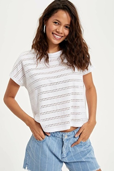 DeFacto Kısa Kollu T-shirt Beyaz